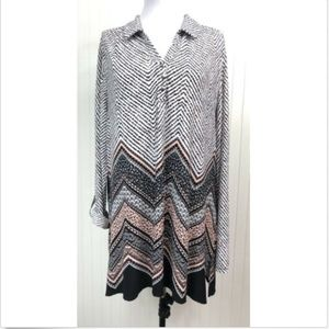 Roz & Ali 1X Tunic Blouse Stretchy L/S Roll Tabs